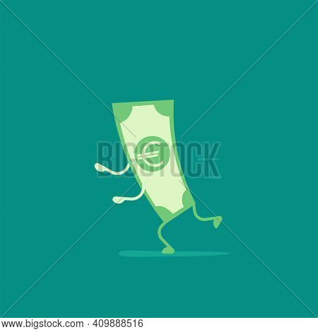 Green Euro Banknote With Legs And Hands Running. Flat Vector Illustration On Blue. Chasing Money. Ca