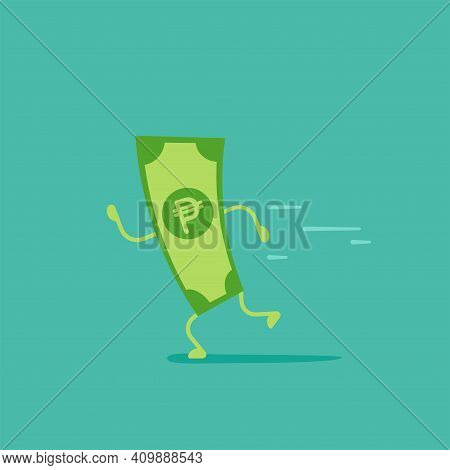 Green Peso Banknote With Legs And Hands Running. Flat Vector Illustration On Blue. Chasing Money. Ca