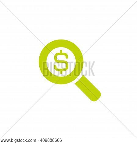 Vector Illustration Of Green Magnifier Glass With Green Dollar Sign. Pictogram Isolated O White. Fin
