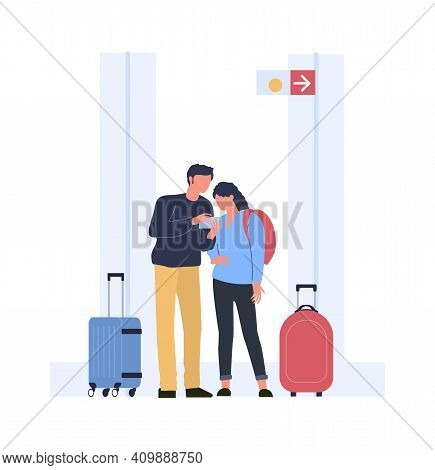People Find Route To Board In Airport Terminal. Vector People In Airport, Passenger Find Route Direc