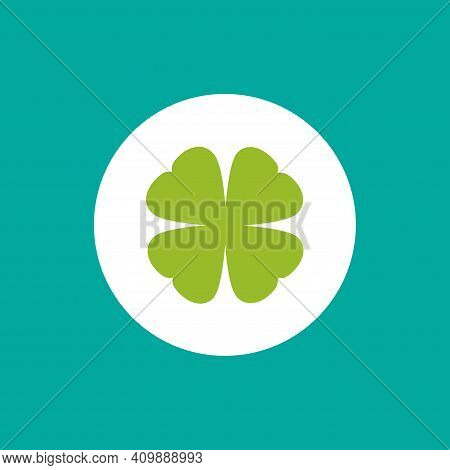 Green Flat Icon Of Irish Clover In Circle. Shamrock Isolated On Blue Background. Vector Illustration