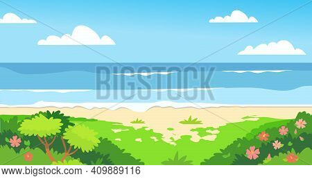 Summer Background With Copy Space For Text - Landscape With Exotic Plants, Leaves, Sea, Ocean - Back
