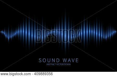 Abstract Sound Wave. Electromagnetic Oscillation, Music Waveform, Radio And Voice Waves. Modern Elec