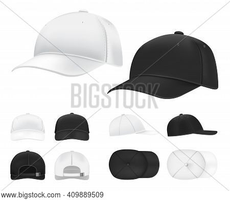Baseball Cap. Black And White Blank Sports Uniform Headwear In Side, Front And Back View Template. I