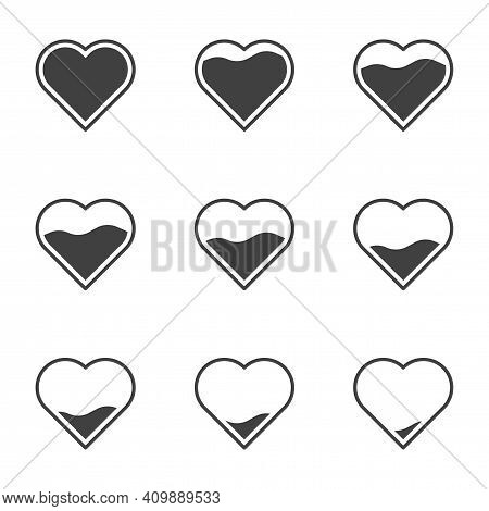 Set Of 9 Icons With Filling Hearts. A Simple Image Of A Heart Gradually Filling In Its Contents. Can
