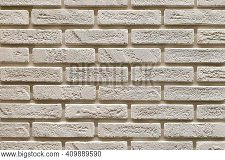 Textured Beige Brick Wall, Stone Texture. Decorative Tiles For Wall Decoration. Background,  Beige D