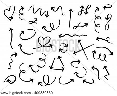Hand Drawn Arrows. Doodle Curved Arrow Handmade Elements. Outline Direction Pointer Isolated Vector