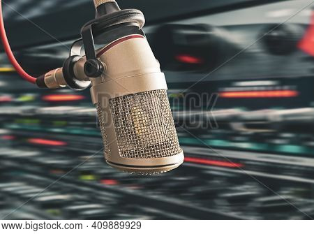 For Radio Station And Podcasters: Background With Professional Microphone And Copy Space