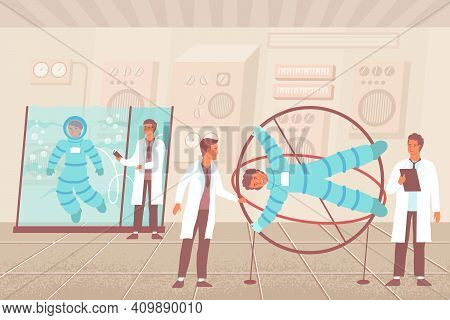 Simulator Astronaut Flat Composition With Characters Of Scientists With Weightlessness And Gravity L