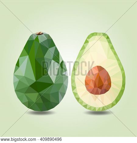Green Avocado, Tropical Fruit, Triangulation, Vector Realistic Illustration Low Poly. Delicious And