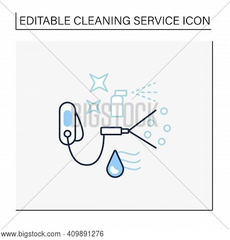 Sanitization Services Line Icon. Sterilization Houses Process. Room Disinfection, Handheld Devices C