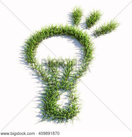 Concept or conceptual green summer lawn grass symbol isolated on white background, sign of a shining lightbulb. 3d illustration metaphor for creation, inspiration, brainstorming, genius and invention