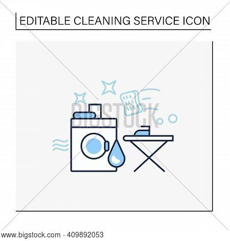 Laundry Services Line Icon. Washing, Drying And Ironing. Washing Machine, Ironing Board. Using Chemi