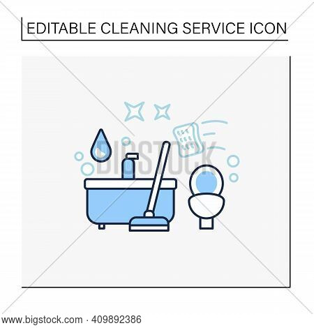 Bathroom Cleaning Line Icon. Home Cleanup. Bath And Toilet Cleanup. Washing, Wiping. Cleaning Servic