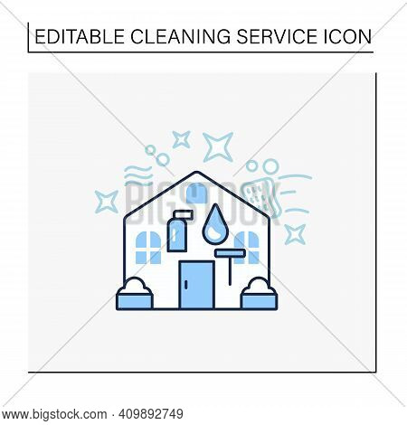 Exterior Cleaning Line Icon. Additional Cleanup Service. Cleaning Team. Environmental Care. Architec