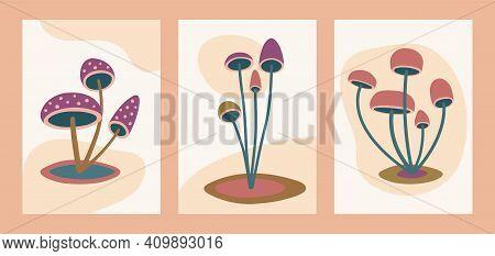 Abstract Minimalist Mushroom Art, Modern Mushroom Wall Decor