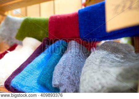 Gray, Green, Red, Blue, Yellow, Purple, Lilac Downy Knitted Thin Wool Shawls, Stoles Blurred Backgro