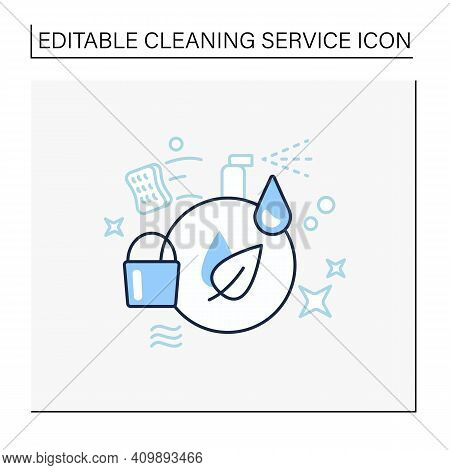 Green Cleaning Line Icon. Ecological Products. Without Chemicals. Zero Waste Products, Environment C