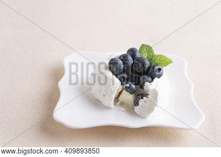 Bitten Homemade Delicious Meringue Cake With Fresh Blueberries