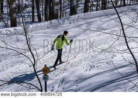 Montreal, Ca - 4 February 2021: Man Skiing On A Snowy Trail In Montreal's Mount Royal Park (parc Du