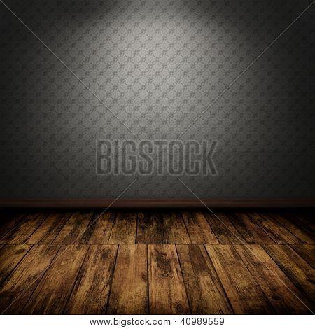 Dark Vintage Room Interior With Wooden Floor