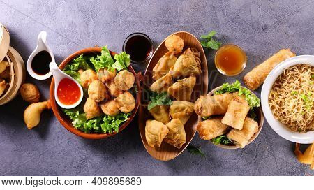 asian food background with various dishes