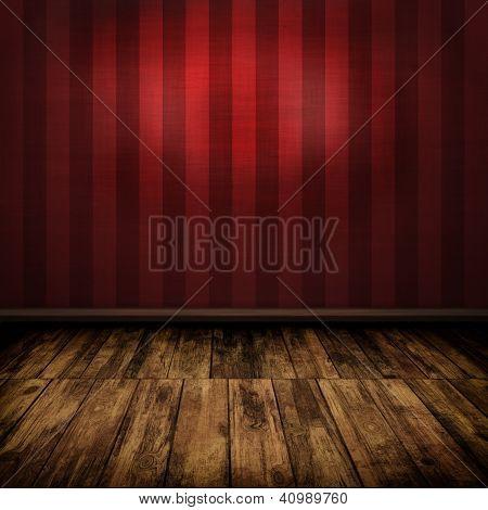 Dark Vintage Red Room Interior With Wooden Floor