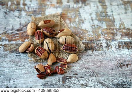 Selective Focus. Macro. Inshell Pecans. Nuts For Pecan Pie.