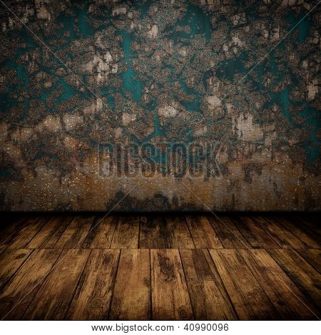 Grunge Industrial Interior With Wooden Floor And Old Damaged Wall