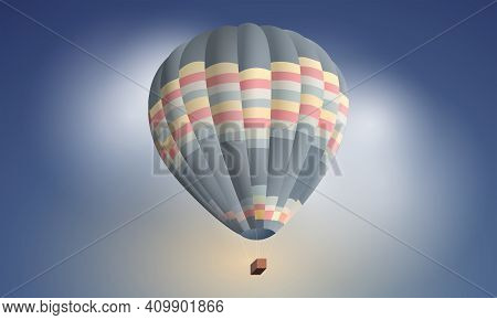 Hot Air Balloon In The Sky. Flight In A Large Hot Air Balloon. Freedom In The Sky