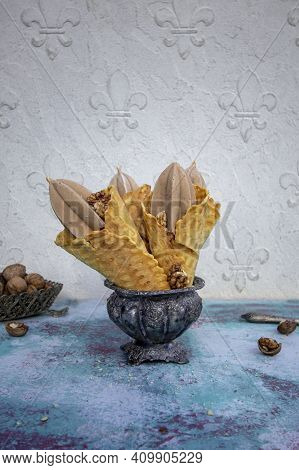 Homemade Nutty Vegetarian Ice Cream In Waffle Cones