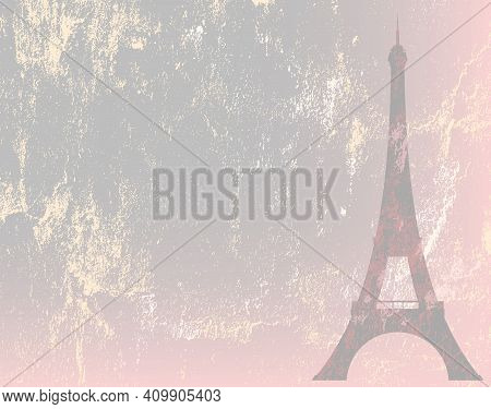 Eiffel Tower Silhouette And Shabby Textured Backdrop - Pastel Colored Copy Space Vector Background