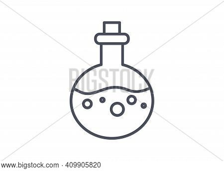 Chemistry Laboratory Glassware Icon Of A Circular Bulb Flask Used To Ensure Even Heating And Boiling