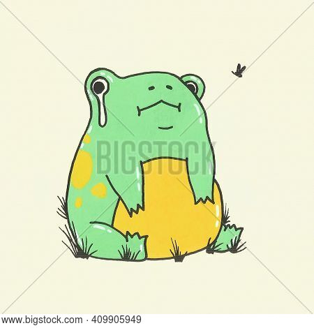 Crying Frog Is Sitting On A White Background. Illustration With Frog And Mosquito In A Cartoon Style