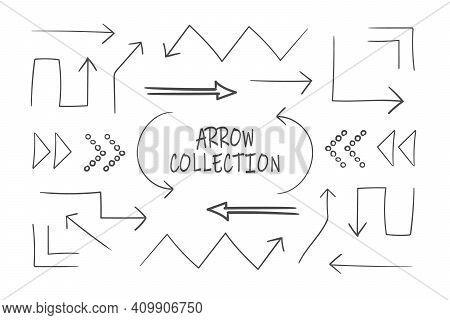 Collection Of Sketchy Arrows. Set Of Black Grunge Hand Drawn Arrows Isolated On White. Vector Illust