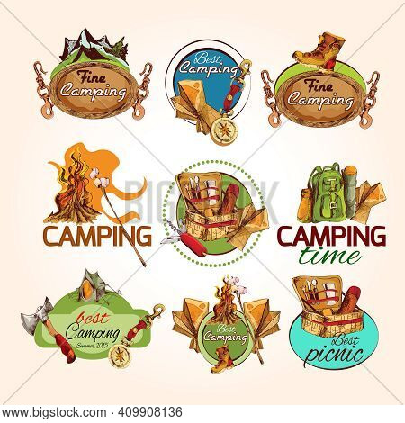 Camping Time Best Fine Summer Picnic Sketch Colored Emblems Set Isolated Vector Illustration