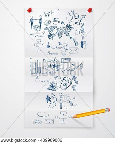 Folded Paper Sheet With Business Symbols Pushpins And Pencil Vector Illustration