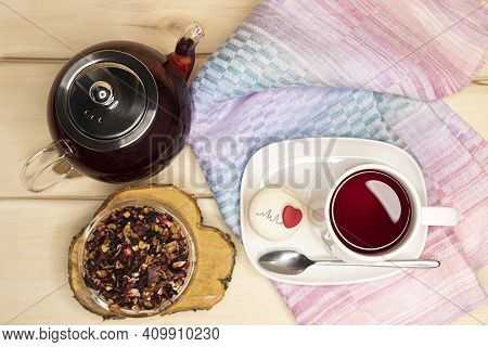 Tea Drink Of Hibiscus, Dried Apple, Rose Hips With The Addition Of Orange Peel, Verbena, Dried Straw