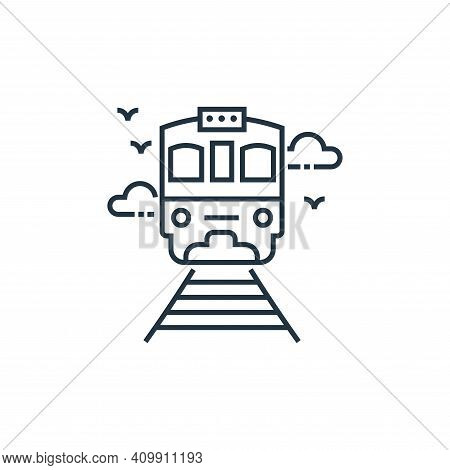 train icon isolated on white background from tourism collection. train icon thin line outline linear