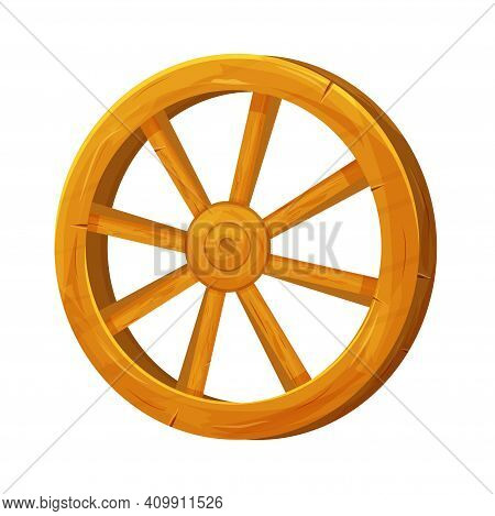 Wooden Wheel In Cartoon Style, Textured And Detailed Isolated On White Background. Wild West Ui Asse