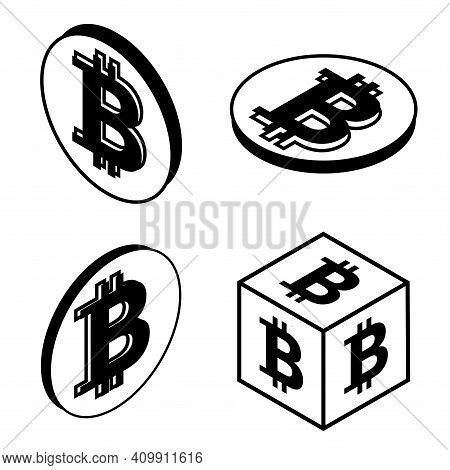 Outline Bitcoin Coin. Crypto Currency Coin Bitcoin Symbol. Cryptocurrency Logo. Isometric Crypto Cur