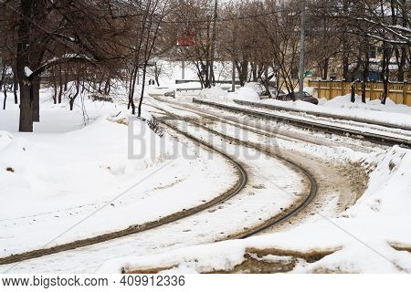 Tramway Rails Cleared Of Snow, Winter Background, Moscow