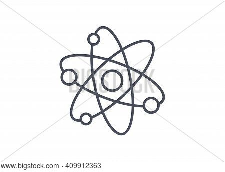 Physics Icon Showing Atomic Structure With Nucleus And Orbiting Electrons, Black And White Line Draw