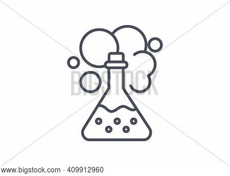 Chemistry Icon Showing A Chemical Reaction In An Erlenmeyer Flask With Bubbling And Emission Of Stea