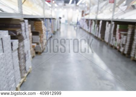 Soft Focus.blurred.a Large Building Materials Store. Background Image.