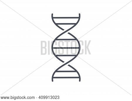 Simple Line Drawing Chemistry Icon Of Dna Spiral Molecule On White Background Showing The Double Cha