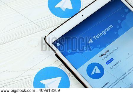 Kharkov, Ukraine - February 14, 2021: Telegram App In App Store Market On Ipad Display Screen. Teleg