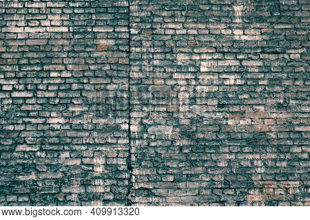 Rough Dark Blue Brick Wall Surface. Light Green Old Blocks Grunge Material Filtered. Faded Distresse
