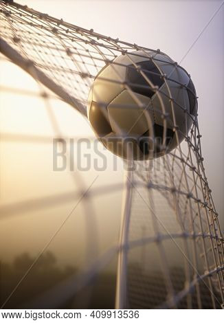 Soccer Ball, Scoring The Goal And Moving The Net. 3d Illustration