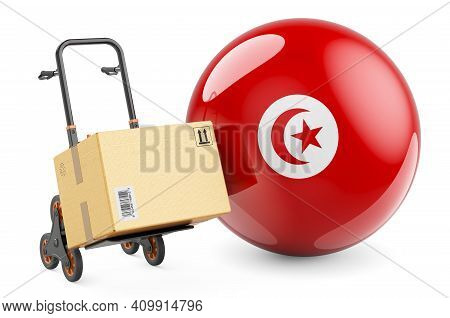 Parcel On The Hand Truck With Tunisian Flag. Shipping In Tunisia, Concept. 3d Rendering Isolated On
